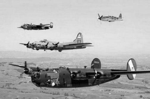 Ww2 Plane Formation black and white poster