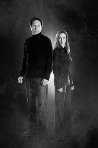 Xfiles Cast black and white poster