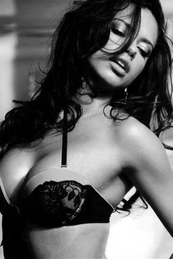 Adriana Lima black and white poster