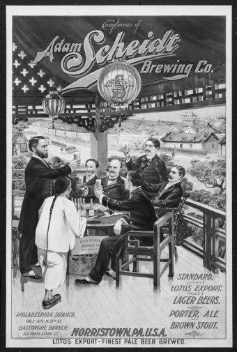 Vintage Beer Hall black and white poster