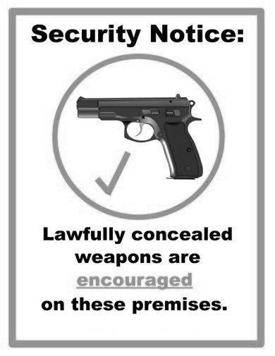 Concealed Carry Weapons Allowed Sign black and white poster