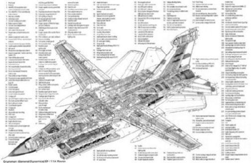 Ef 111 Raven Cutaway black and white poster