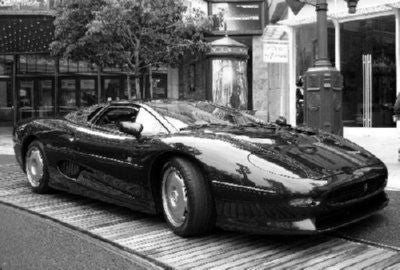 Jaguar Xj 220 black and white poster