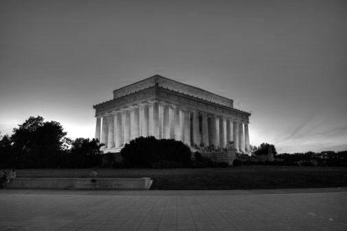 Lincoln Memorial black and white poster