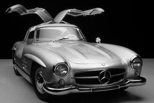 Mercedes 300Sl black and white poster