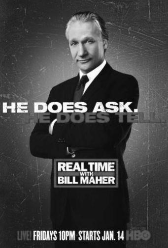 Real Time With Bill Maher black and white poster