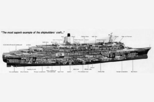 Qe 2 Ship Cutaway black and white poster