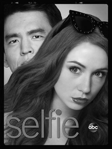 Selfie black and white poster