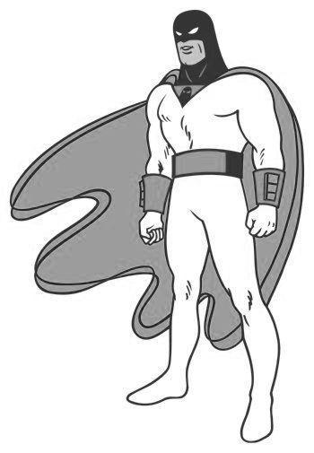 Space Ghost black and white poster