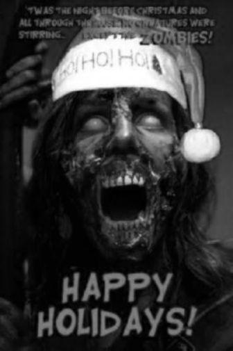Zombie Christmas Greetings black and white poster