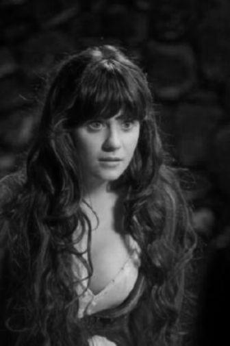 Zooey Deschanel black and white poster