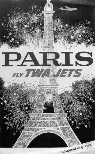 Twa Airlines Paris Eiffel Tower poster tin sign Wall Art