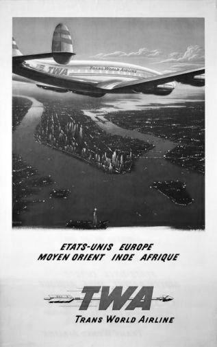 Twa Arilines Manhattan poster tin sign Wall Art