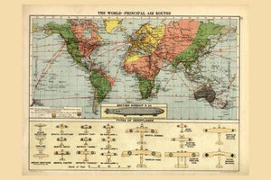 Air Routes Map 1920 poster tin sign Wall Art