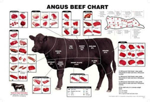 Angus Beef Chart Meat Cuts Diagram poster tin sign Wall Art