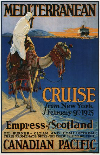 Canadian Pacific Mediterranean Cruise Lines 1925 Mini poster 11inx17in