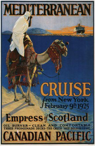 Canadian Pacific Mediterranean Cruise Lines 1925 poster tin sign Wall Art