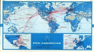 Pan Am 1968 Route Map Poster 24inx36in - Fame Collectibles