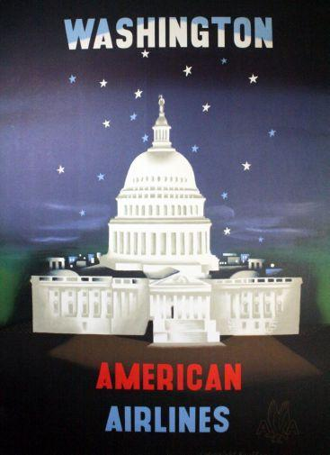 American Airlines Washington Dc poster tin sign Wall Art