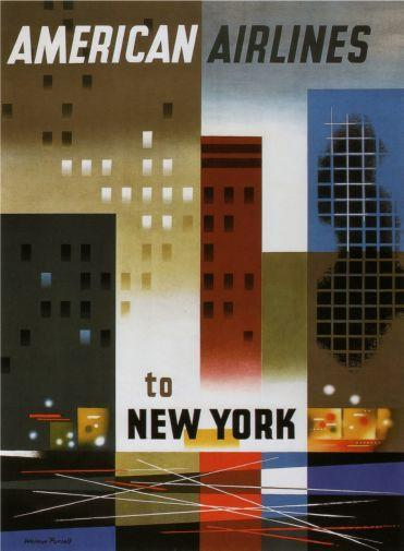 American Airlines New York poster tin sign Wall Art