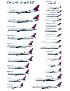 "Aviation and Transportation Delta Airlines Fleet Poster 16""x24"" On Sale The Poster Depot"