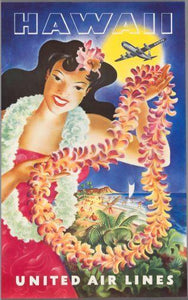 United Airlines Hawaii poster tin sign Wall Art