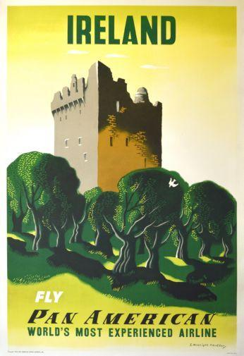 Pan Am Airlines Ireland poster tin sign Wall Art
