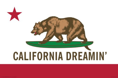 California Dreamin State Of California Flag With Surfboard 24x36 Poster