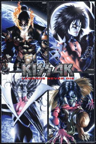 Kiss 4K Legends Never Die Anime Style Characters 24x36 Poster