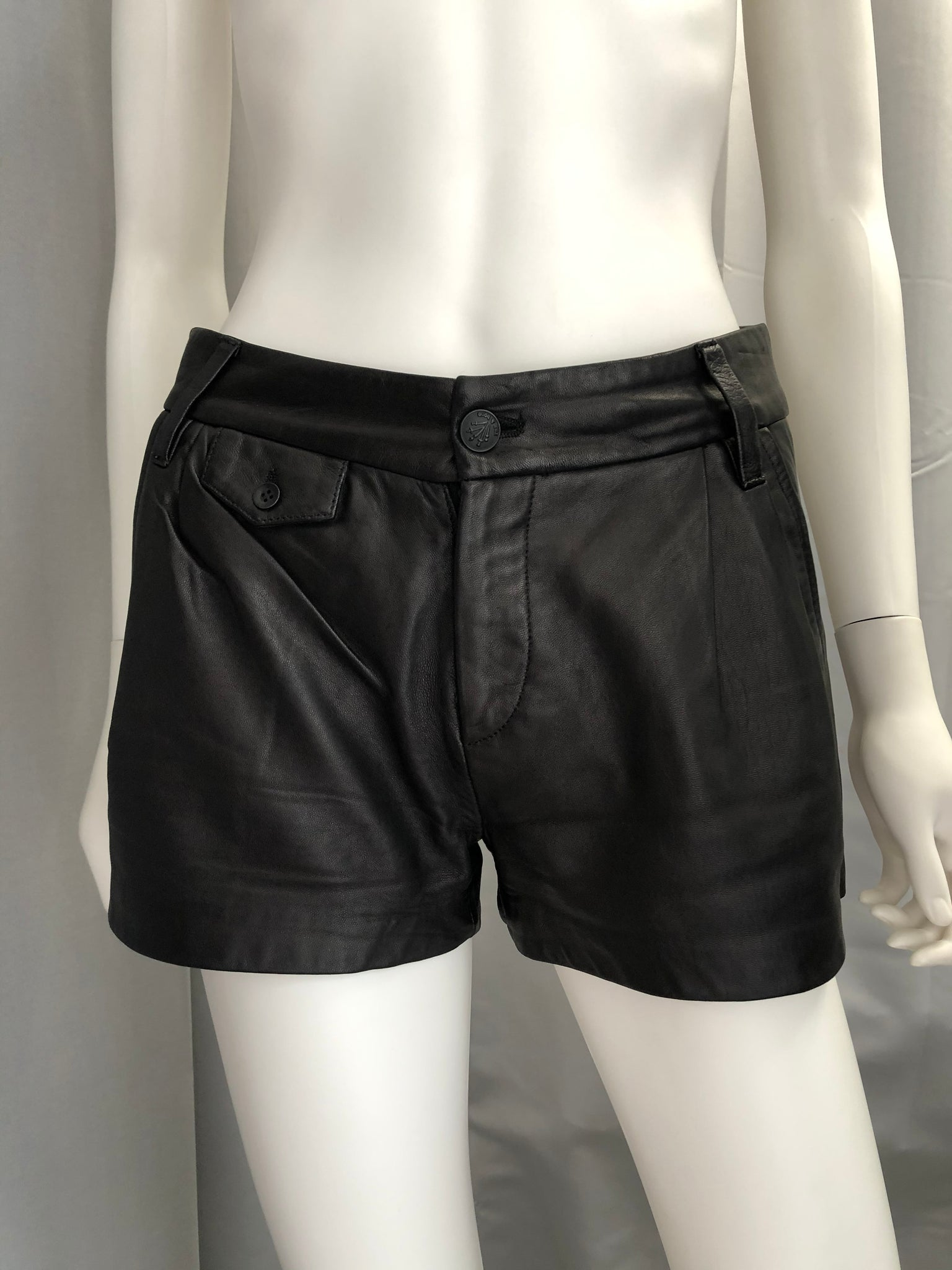 Rag & Bone Black Leather Shorts