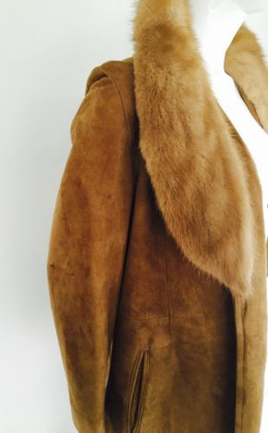 Suede Jacket with Mink Shawl Collar