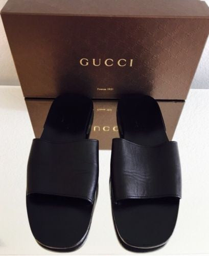 Gucci Leather Slides - Vanity's Vault