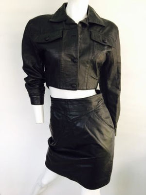 Leather Skirt Set