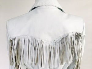White Leather Fringe Jacket - Vanity's Vault