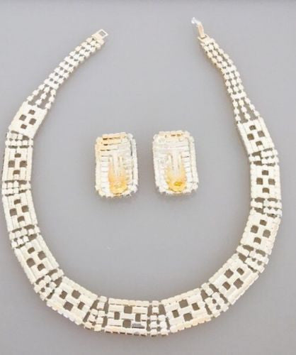 Baguette Necklace And Earrings - Vanity's Vault