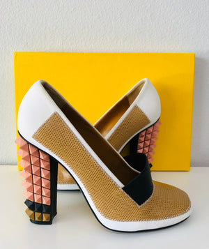 Fendi Pyramid Colorblock Pumps