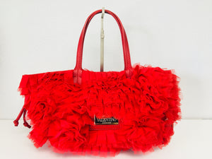 Valentino Red Tulle Rosette Tote Bag