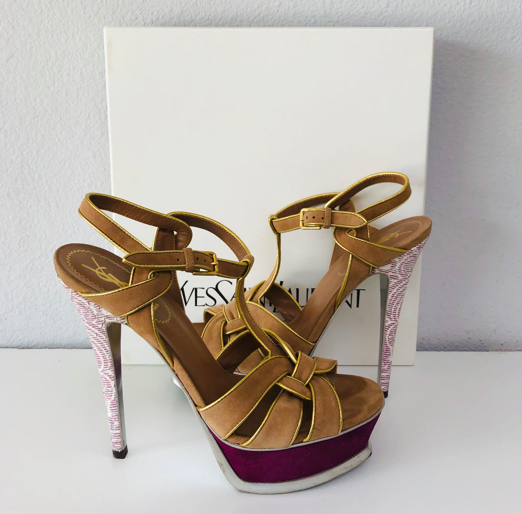 YSL Tribute High Heel in wheat suede, cerise lace heel