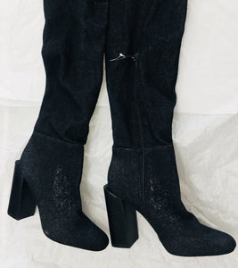 Jeffrey Campbell LF Distressed Denim boots - Vanity's Vault