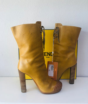 Fendi Leather Lace-up Midcalf Boots