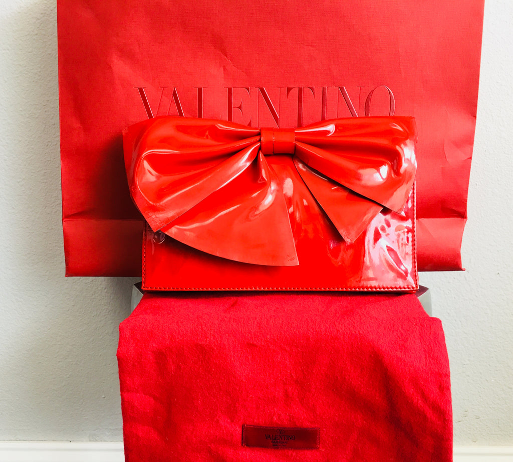 Valentino Nuage Red Bow Clutch - Vanity's Vault