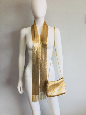 two piece set gold scarf and purse