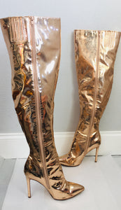 Olivia Metallic Rose Gold Thigh High Boots - Vanity's Vault