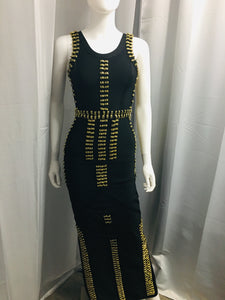 Black Banded Dress with Gold Rings - Vanity's Vault