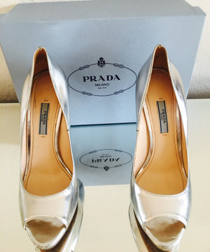 Prada Metallic Peep-Toe Pump, Silver