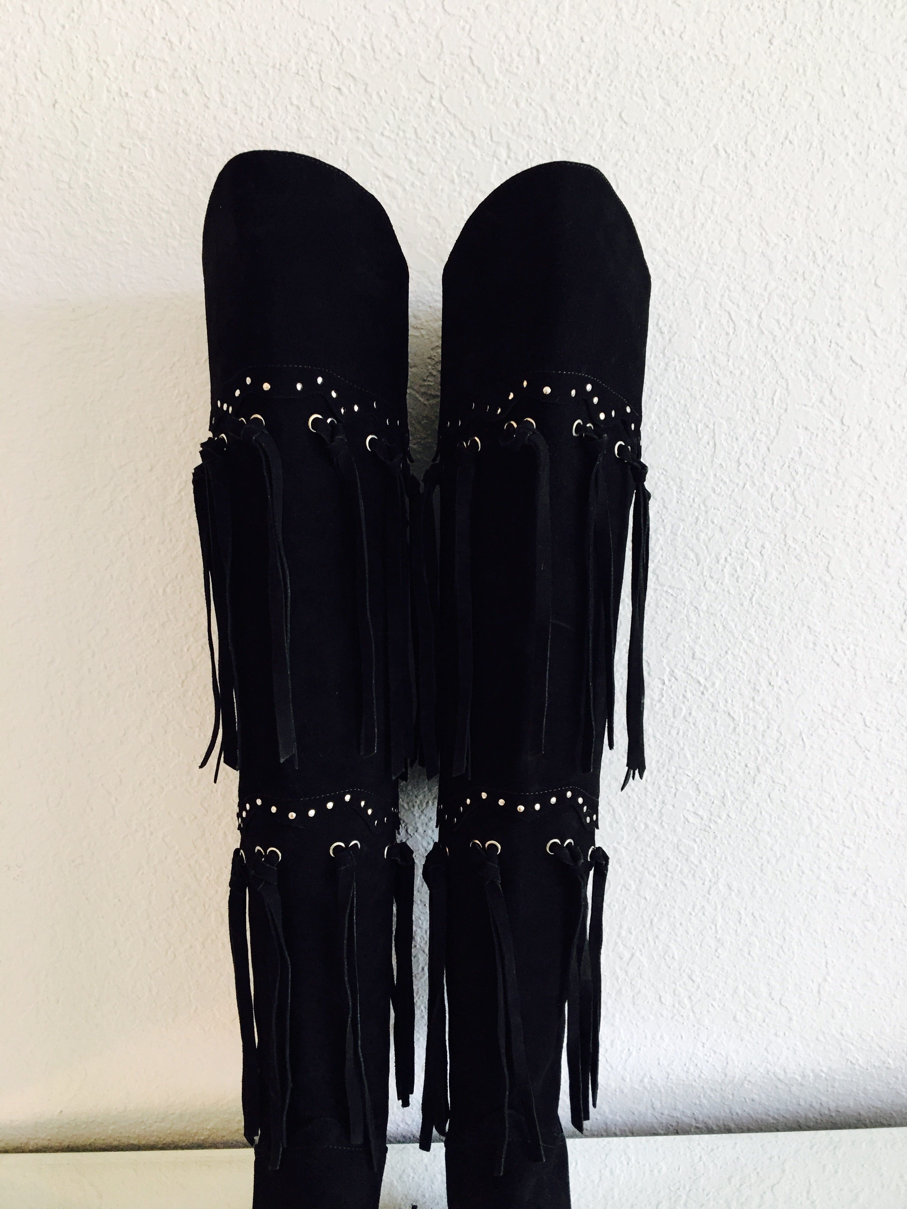 Giuseppe Zanotti Studded and fringed suede over-the-knee Boots - Vanity's Vault