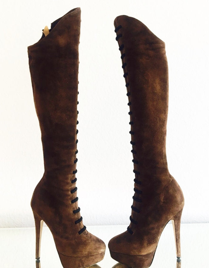 Charlotte Olympia Ravenna Suede Knee Boots