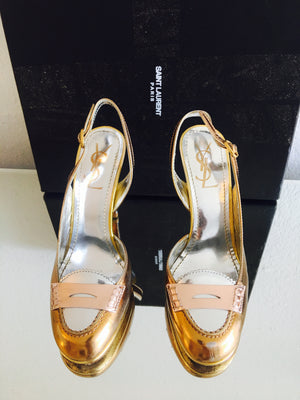 YSL Rose Gold & Silver Heels