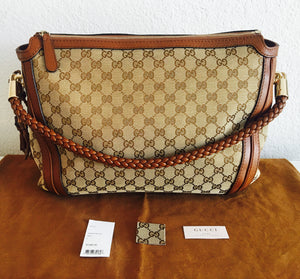 Gucci Natural Brown Canvas Bag with Braided Top Handle