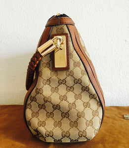 Gucci Natural Brown Canvas Bag with Braided Top Handle - Vanity's Vault